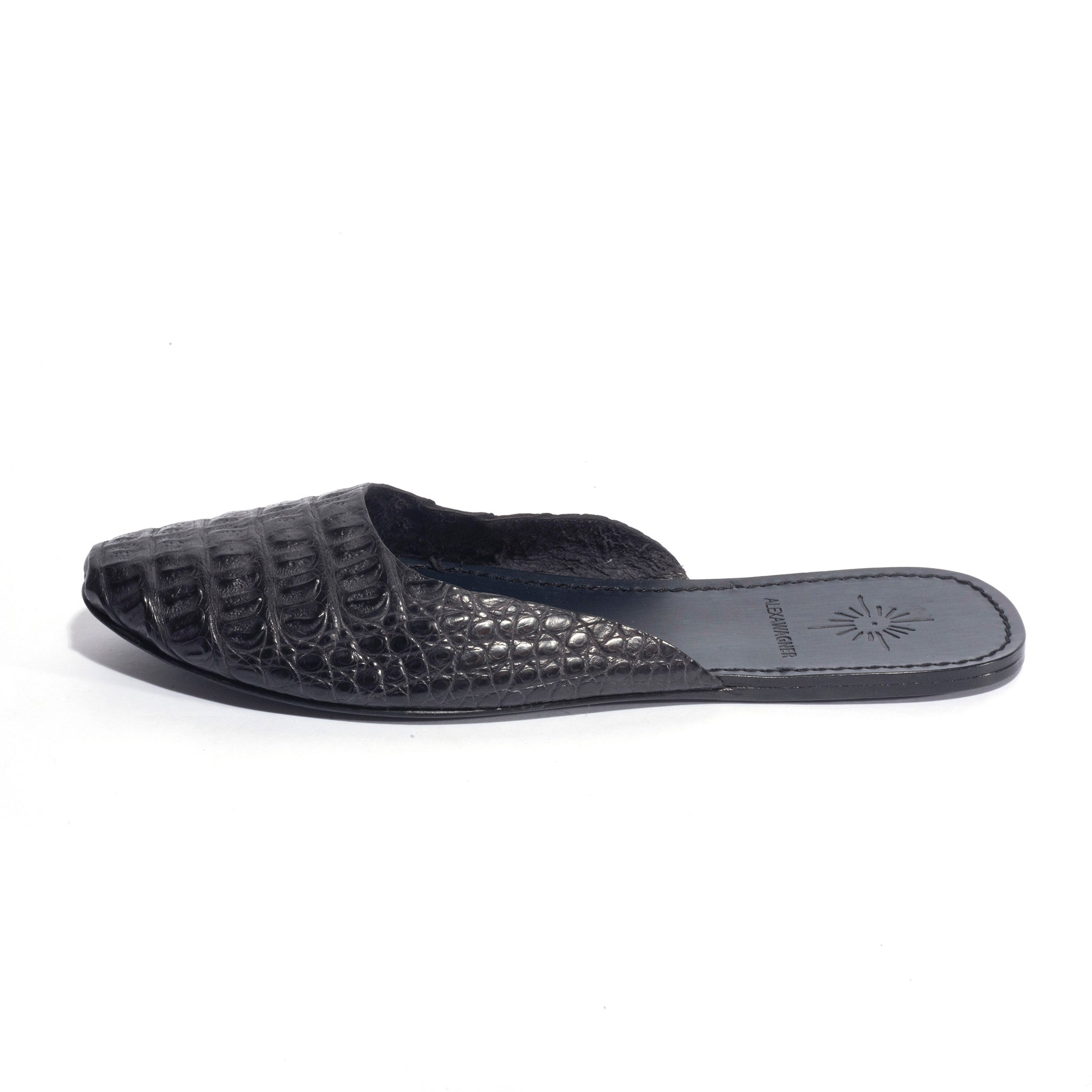 Shine Easy dark grey croco slides