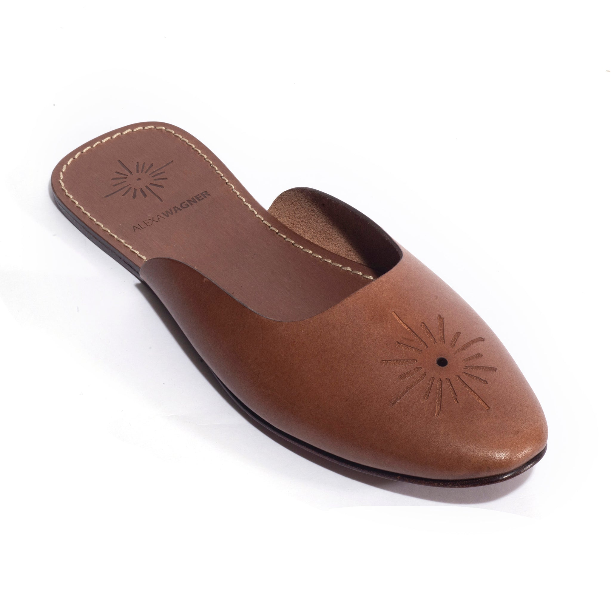 Shine Laser brown calf slides