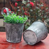 Vintage Washed Tin small Heart Flower Plant Bucket Balcony Hanging Hook Fence Pot