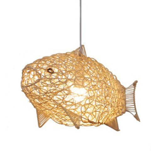 Creative Artistic Fish Pendant Lights Hand Woven Rattan Hanging Lamps Light Fixtures