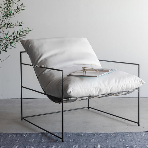 Lazy Nordic Iron Modern Metal Leisure Sofa Pillowed Chair