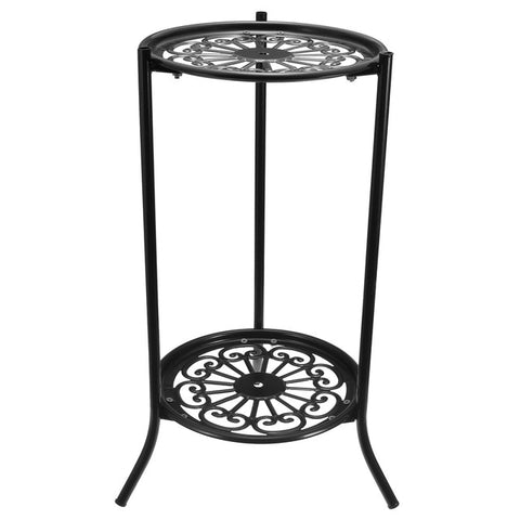Metal 2 Tier plant Stand Shelf Black/White decorative display
