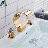 Golden Nickel Black Waterfall Basin Faucet Dual Cristal Handle Widespread Sink Mixer Tap