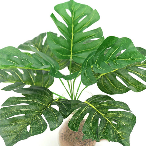 Artificial Fake Turtle Back Leaves Green foliage Silk Plants With Pot