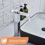 Square Chrome and Black Waterfall Basin Sink Faucet mixer Tap Wide Spout