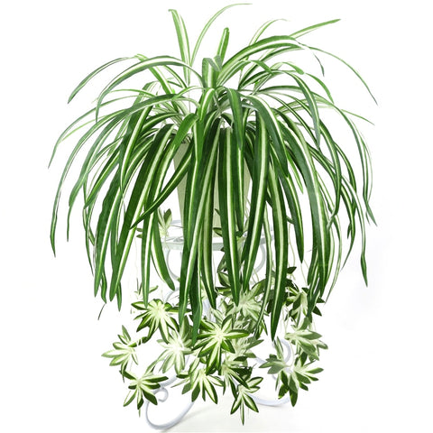 Artificial Hanging Spider plant potted green PVC fake Decor