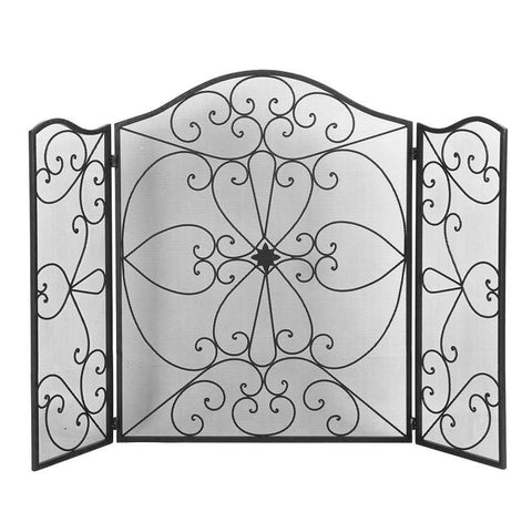 Retro Wrought Iron Casting Fireplace Screen