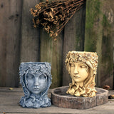 Modern Statue Goddess Flower Pots Resin Girl Head Succulent Handmade Decor