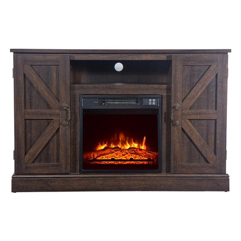 Brown TV Cabinet Electric Fireplace 1400W Single Color flame Remote Heater
