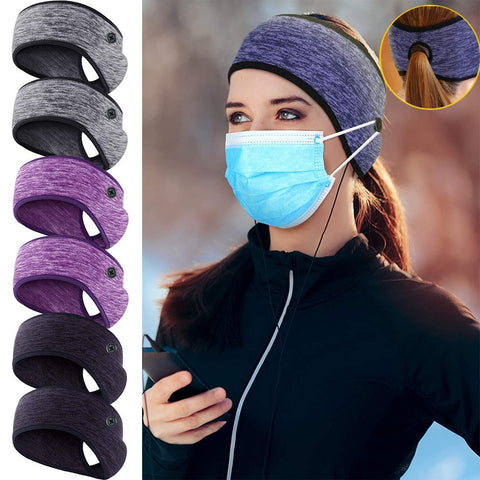 Winter Ponytail Headband With mask Buttons Warm Running Sweatband