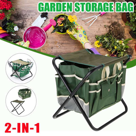 2 in 1 Garden Stool Chair Bag Folding Outdoor Fishing Camping Portable Seat Table