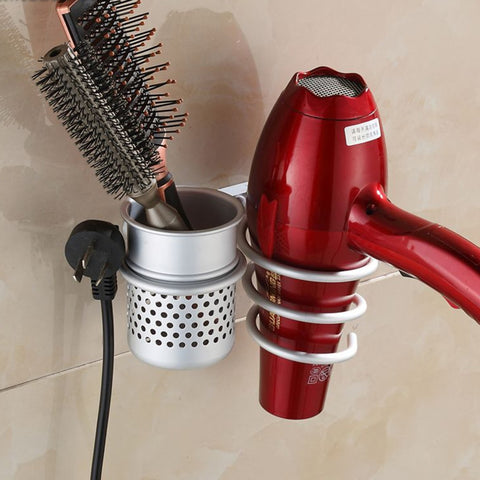 Wall Mounted Hair Dryer Brush Comb Holder Set Storage Organizer