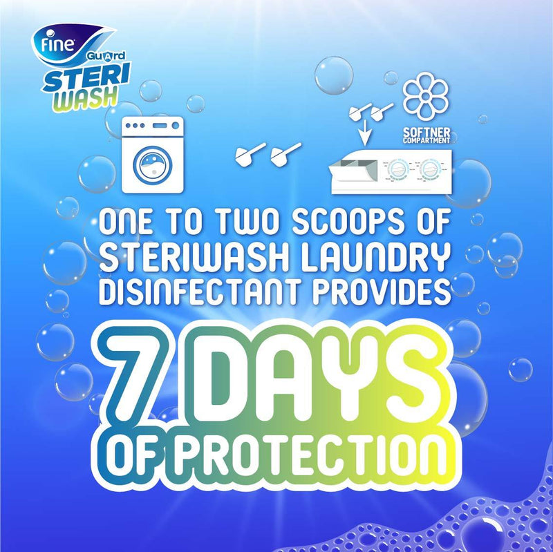 Fine Guard SteriWash, Long Lasting Laundry Disinfectant, 7 Days Protection, 200g