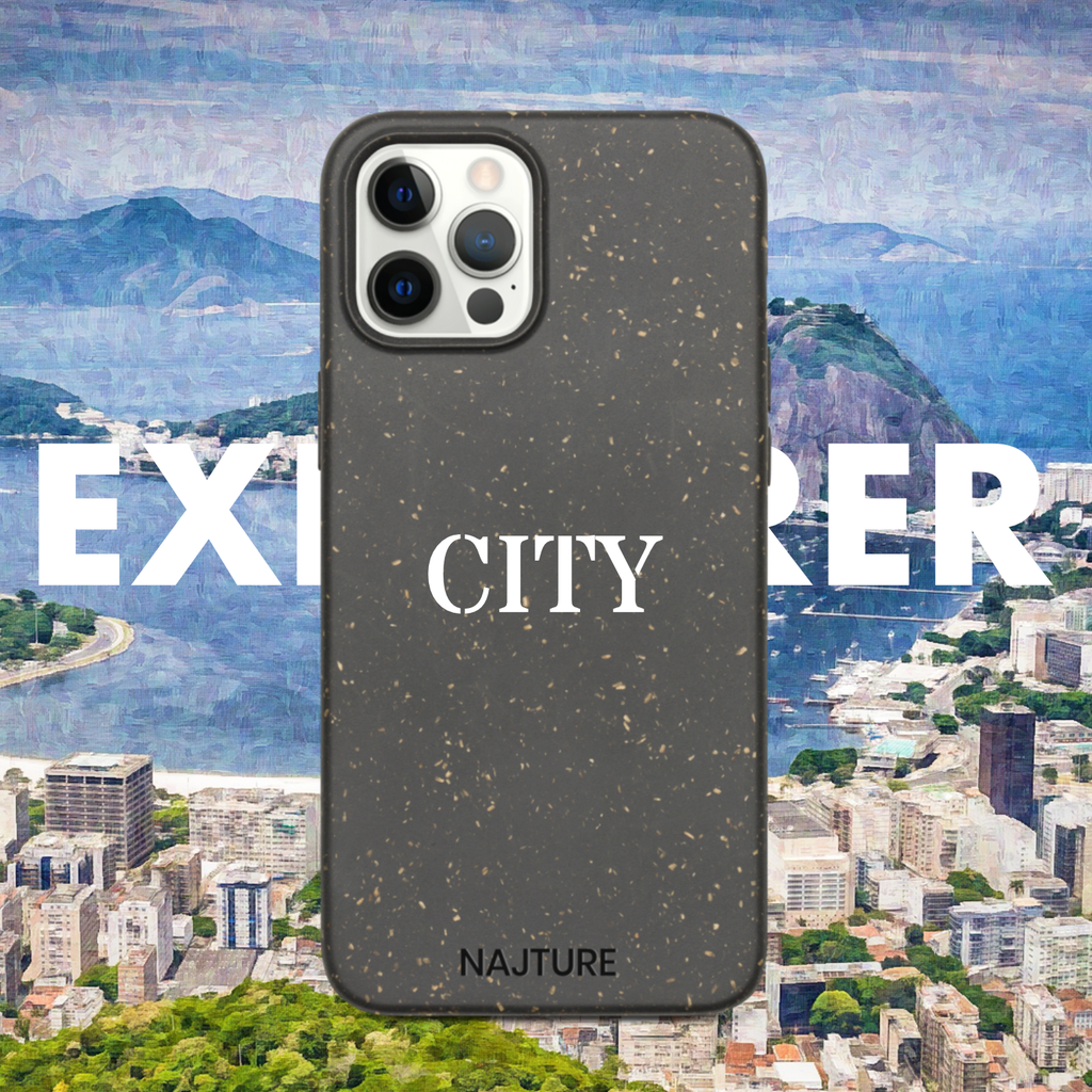 Personalised personalized customized customised phone case for iphone biodegradable compostable iphone case eco-friendly art city explorer case
