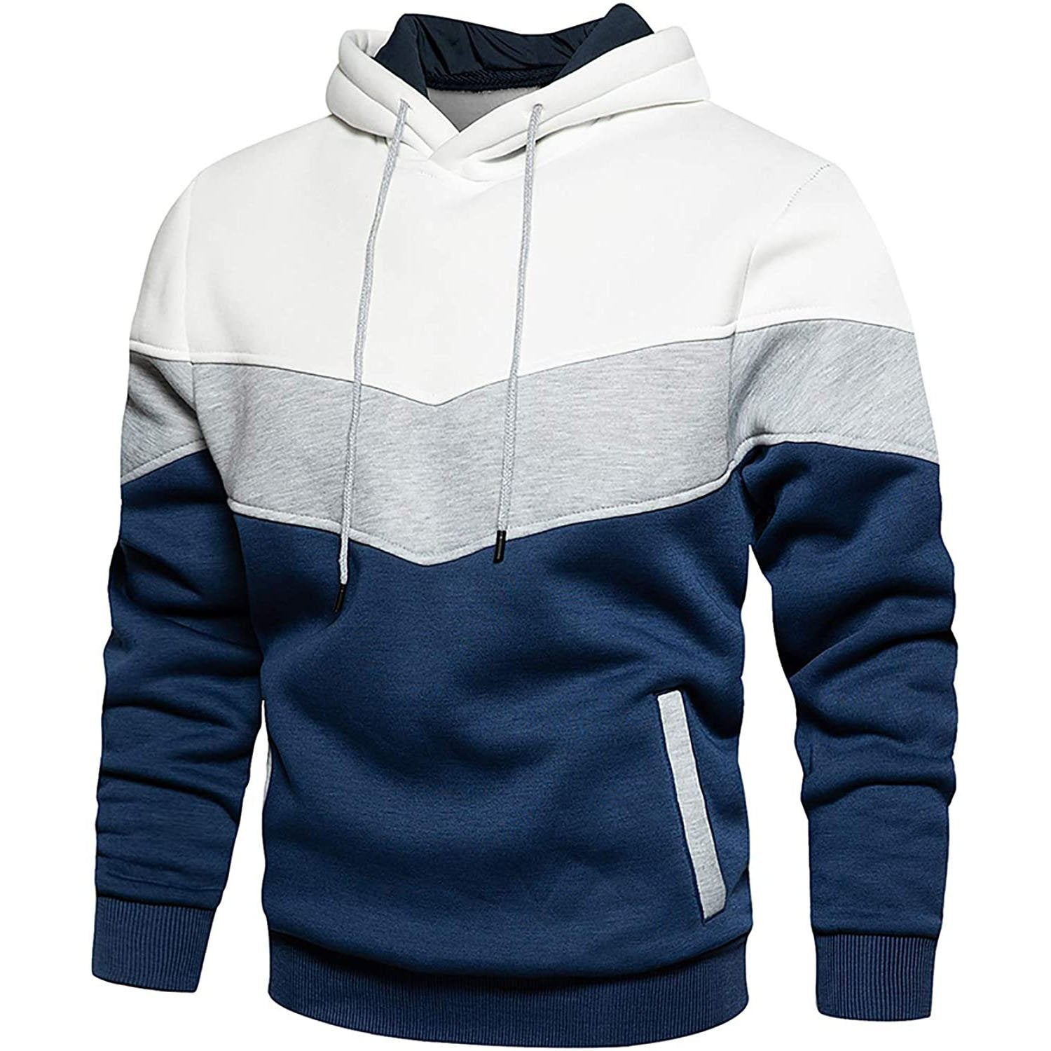 Multi Color Pullover Hoodie - White/Grey/Blue