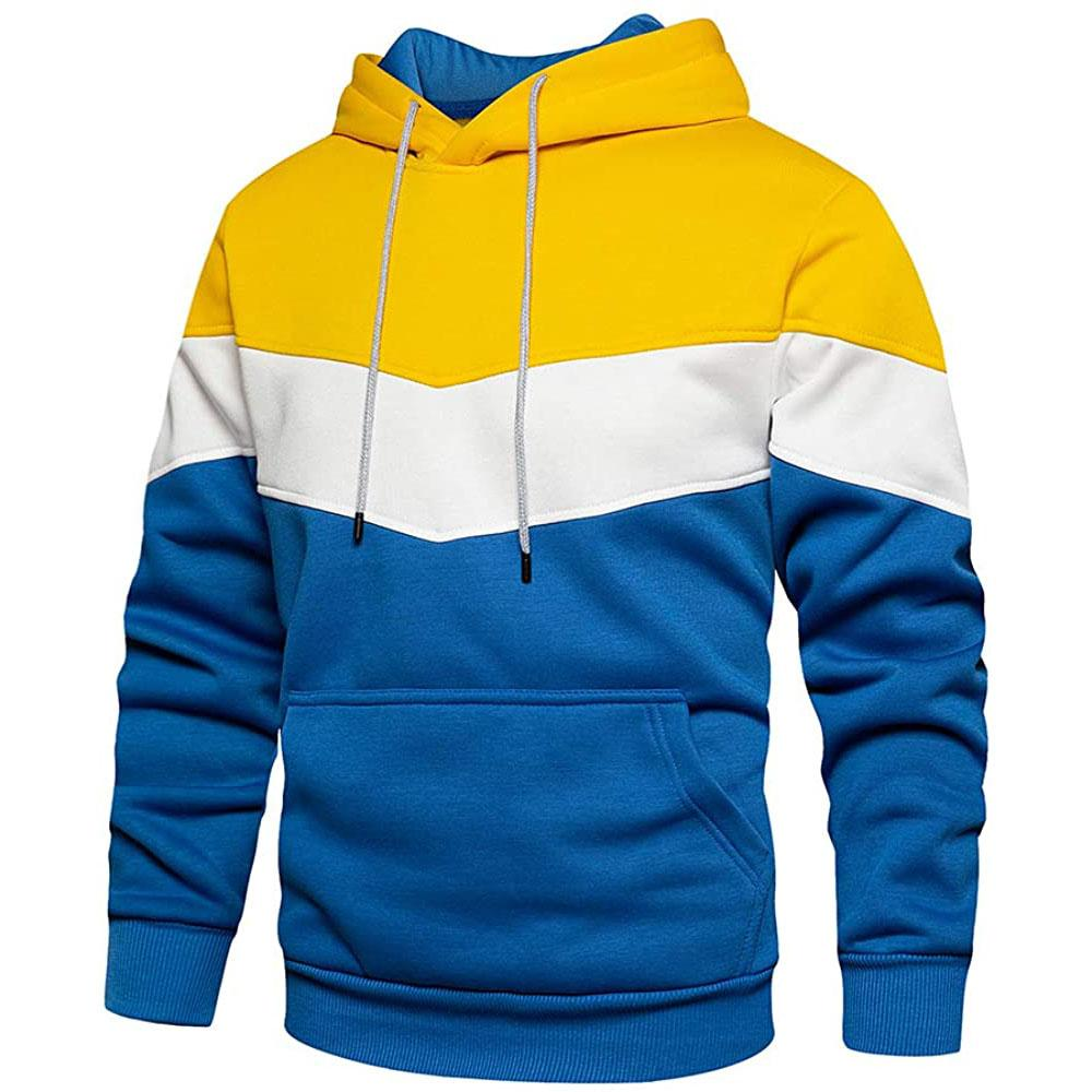 Multi Color Pullover Hoodie - Yellow/White/Blue