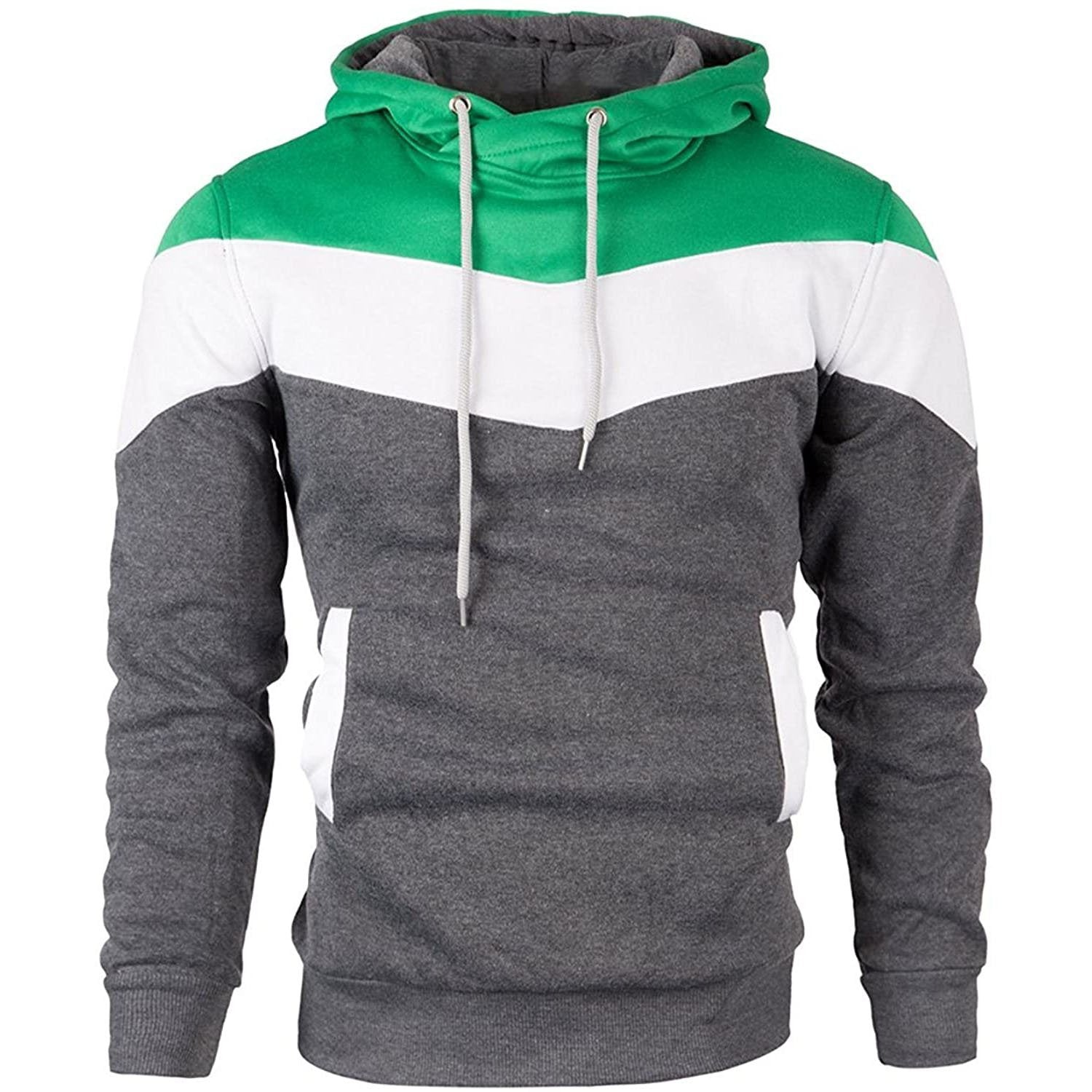 Multi Color Pullover Hoodie - Green/White/Grey
