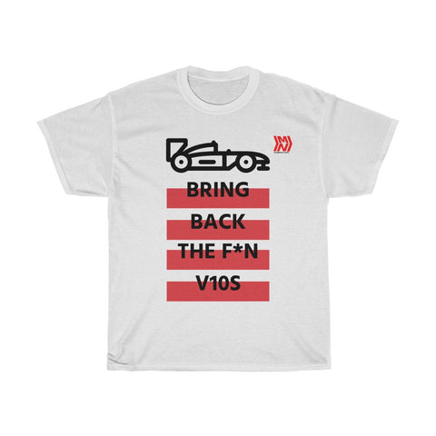 """Bring Back the V10s""  White Unisex Heavy Cotton Tee"