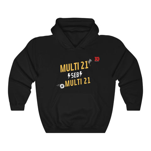 """Multi 21"" Black Unisex Heavy Blend™ Hooded Sweatshirt"