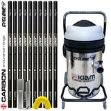 Kiam CYCLONE Gutter Vacuum Cleaning System 3600W (Stainless Steel) with Carbon Gutter Pole Kit