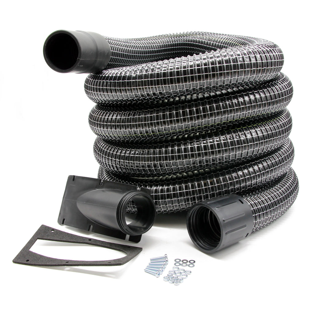 Cyclonic Side Entry Inlet & 15m Wire Reinforced Gutter Vacuum Hose (51mm)