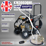 Driveway Cleaning Equipment - KM3000DHI Diesel Pressure Washer, SurfacePro 18 Rotary Cleaner and Turbo Nozzle