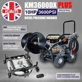 Roof Cleaning Equipment - KM3600DX PLUS Diesel Pressure Washer, 30m Hose Reel, Stainless Steel Rotary Roof Cleaner andTurbo Nozzle