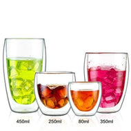 Double Layer Wall Clear Glass Heat Resistant Tea Coffee Mug Drinkware