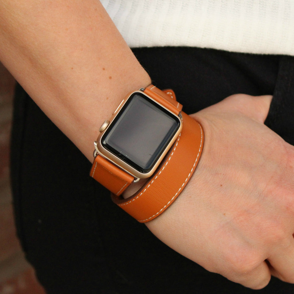 Genuine Leather Double Wrap Apple Watch Band Brown And Black Apple Leather Band