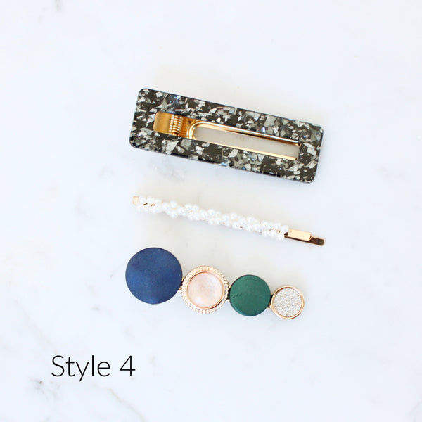 Trendy 3 Pack Hair Clip Barettes