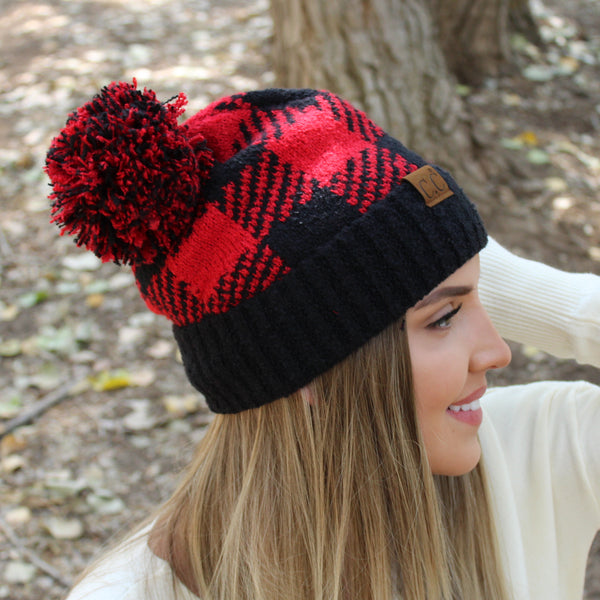 CC® Buffalo Plaid Pom Beanie