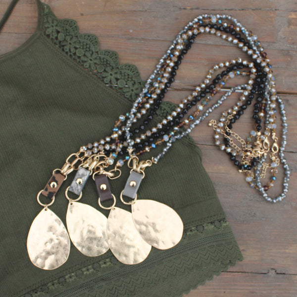 Hammered Metal and Leather Necklaces