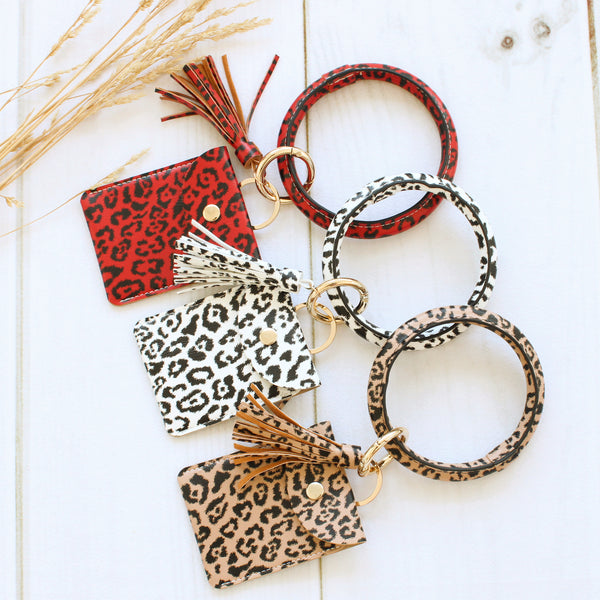 Leopard Print Keychain Bangle and Wallet