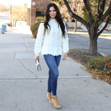 Parker Cable Knit Peplum Sweater