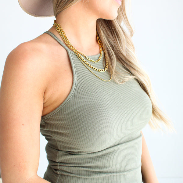 Ribbed Halter Tank Top