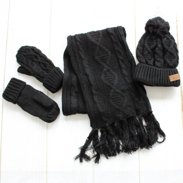 Pom Beanie Scarf and Glove Set