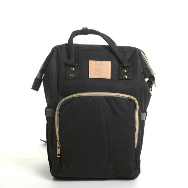 black diaper backpack mom carryall or student backpack or dad diaper bag