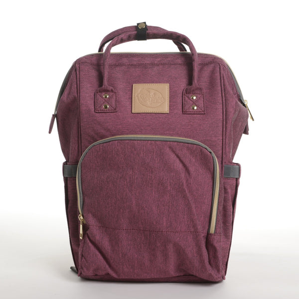 Wine burgundy plum diaper backpack carryall