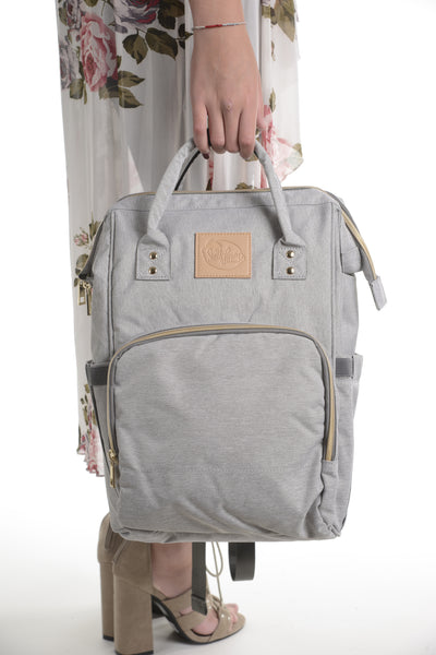 gray diaper backpack carryall