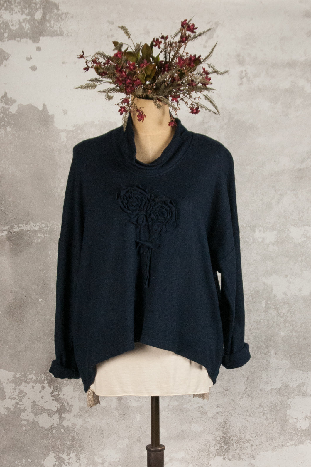 Navy merino wool jumper