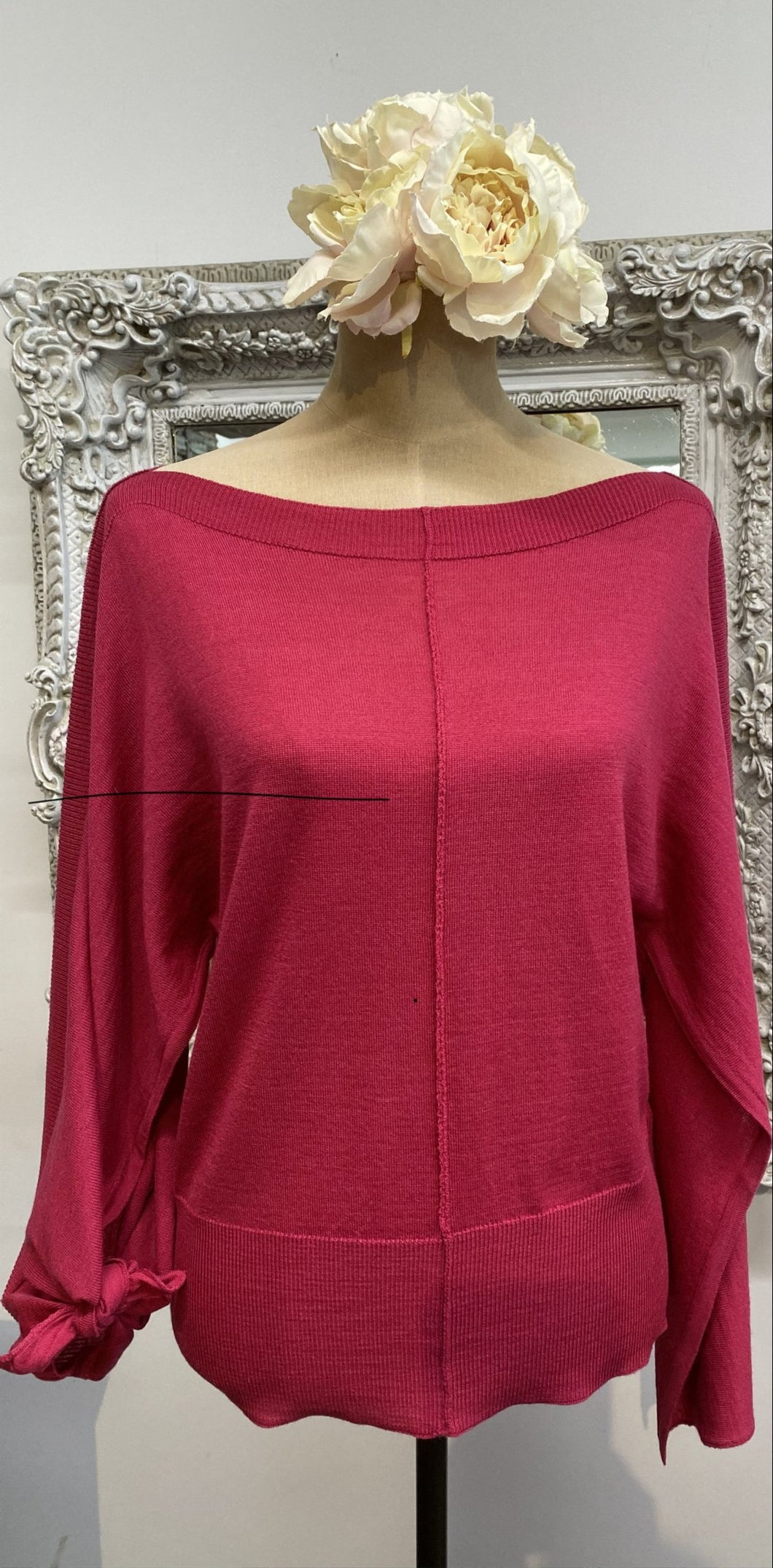 Red Italian knit top
