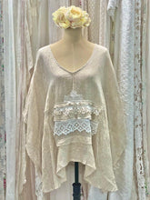 Load image into Gallery viewer, Linen beige poncho