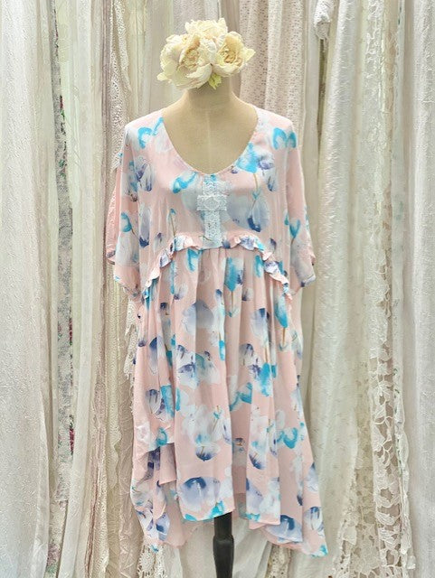 Rayon peach floral dress