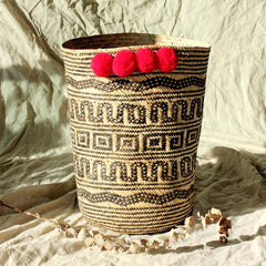 Borneo Tribal Drum Basket - with Red Hot Pom-poms