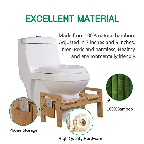 "MallBoo Adjustable Bamboo Squatting Toilet Stool Portable Bathroom Squatting Urinal (7"" and 9"")"