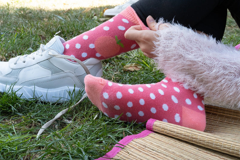 Kids Peach Dot Socks