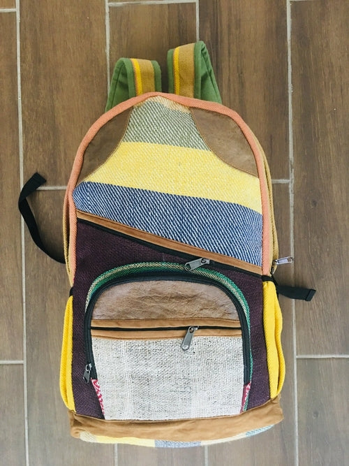 Hemp Back Pack All Natural Handmade Multi Pocket Laptop Backpack -