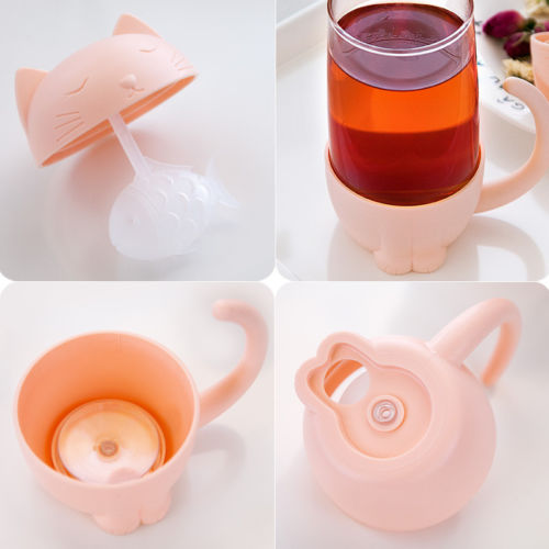 Cute Cat Glass Cup Tea Mug With Fish Infuser