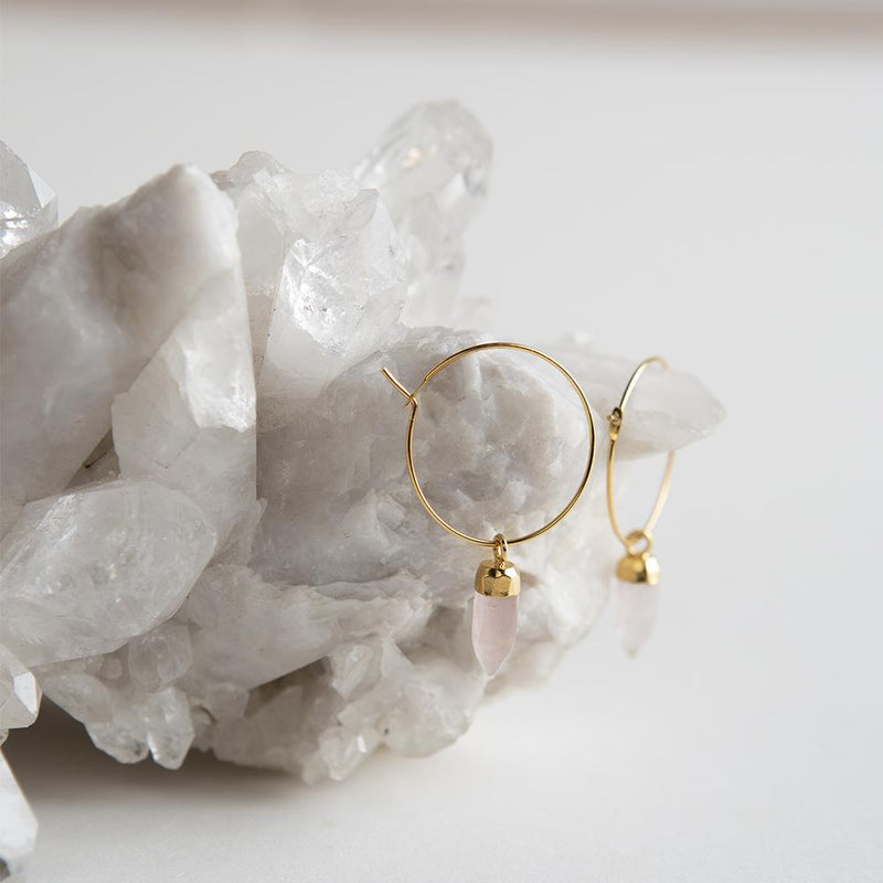 Berklee Earrings-Rose Quartz