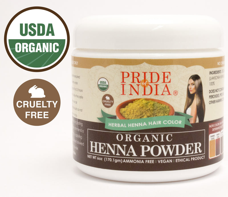 Organic Henna Hair Color Powder - 100% Natural, 6oz (170gm) Jar